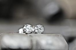 Four Claw Platinum Diamond Stud Earrings