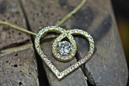 Diamond Encrusted Heart Pendant 18ct Gold