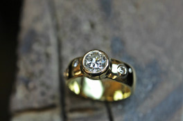 Heavy Rubover Set Diamond Gold Ring