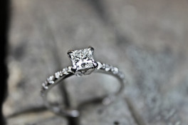 Princess Cut Diamond Engagment Ring & Micro Set Shoulders