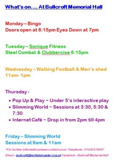 What's On @ Bullcroft Memorial Hall