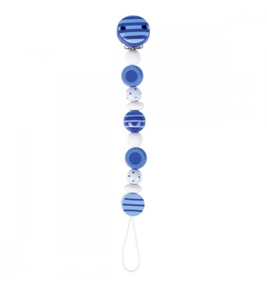 Heimess Soother/Dummy Chain Striped and Spotted Beads Blue - 732430