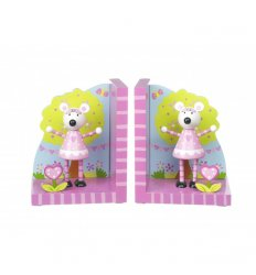 Orange Tree Toys Wooden Bookends - Pink Mouse -