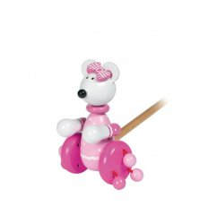 Orange Tree Toys Wooden Push Along - Pink Mouse -