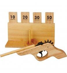 Wooden Rubber Band Gun & Target -