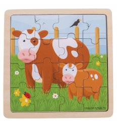 Bigjigs Cow and Calf Wooden Jigsaw Puzzle -