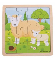 Bigjigs Sheep and Lamb Wooden Jigsaw Puzzle -