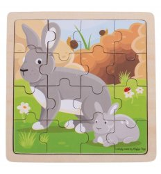 Bigjigs Rabbit and Kitten Wooden Jigsaw Puzzle -
