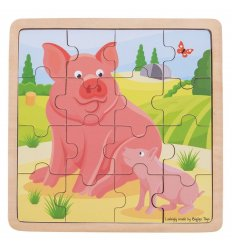 Bigjigs Pig and Piglet Wooden Jigsaw Puzzle -