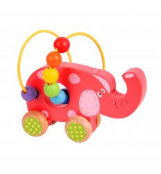 Bigjigs Elephant Push Along Bead Frame - BB071