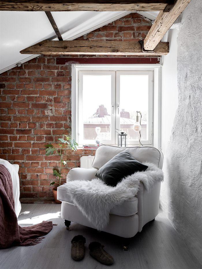 Inspiring Homes Vigas De Madera Y Ladrillo Visto Always White - Decoracion-ladrillo-visto