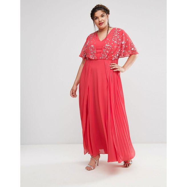 6c1640d3 ASOS CURVE Pretty Embellished Pleated Maxi Dress - Amaliah