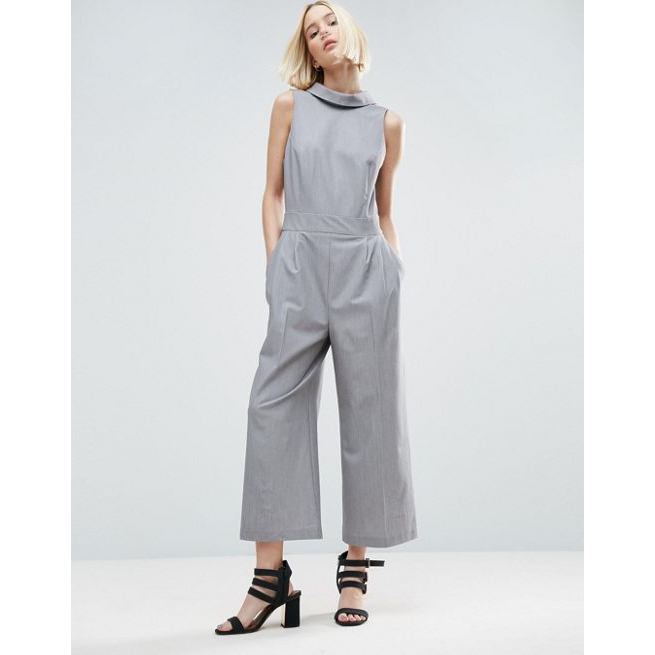 2f66f3e33f ASOS Jumpsuit with Shirt Detail and Tie Back - Amaliah