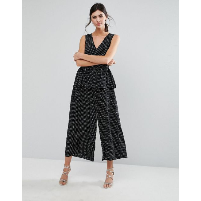 d6981644208 ASOS TALL Jumpsuit in Spot with Peplum Ruffle Detail - Amaliah
