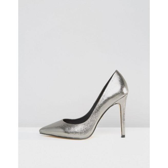 fdcb6e80c3044 Faith Wide Fit Chloe Pewter Metallic Court Shoes - Amaliah