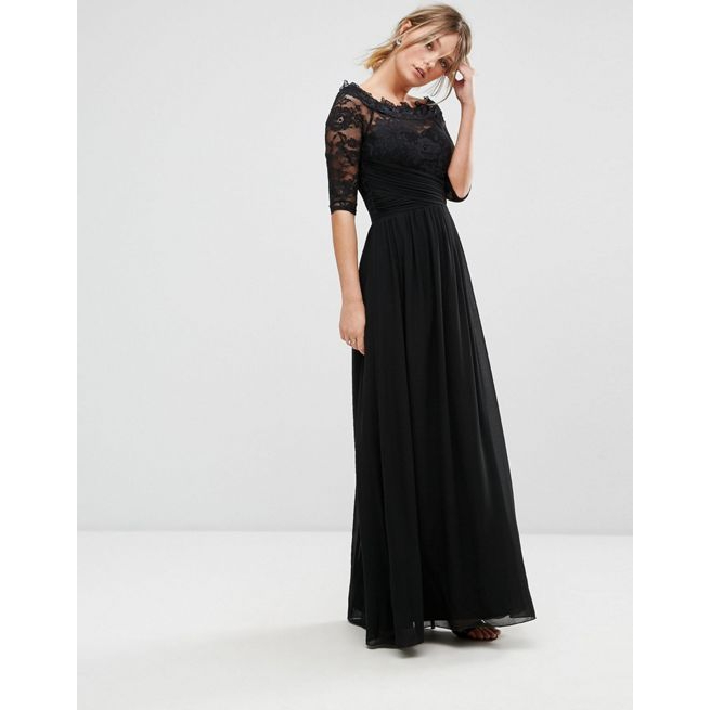 4e2d2d6a9ee6 Little Mistress Lace Bardot Chiffon Maxi Dress - Amaliah