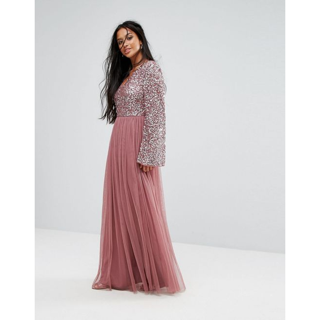 bdb970a648 Maya Petite Sequin Top Tulle Maxi Dress With Fluted Sleeve Detail - Amaliah