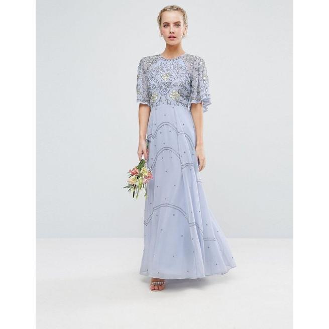 5eed5c81794 ASOS PETITE Wedding Embellished Floral Flutter Sleeve Maxi Dress - Amaliah