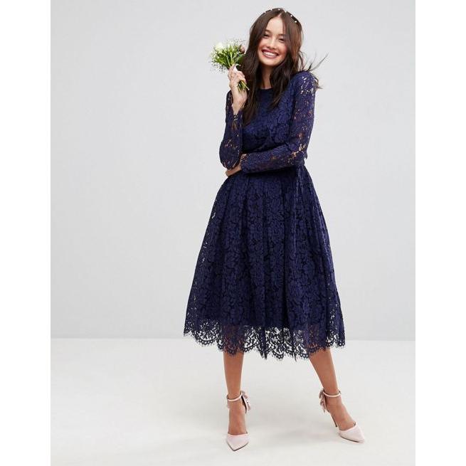 ASOS WEDDING Lace Long Sleeve Midi Prom Dress - Amaliah