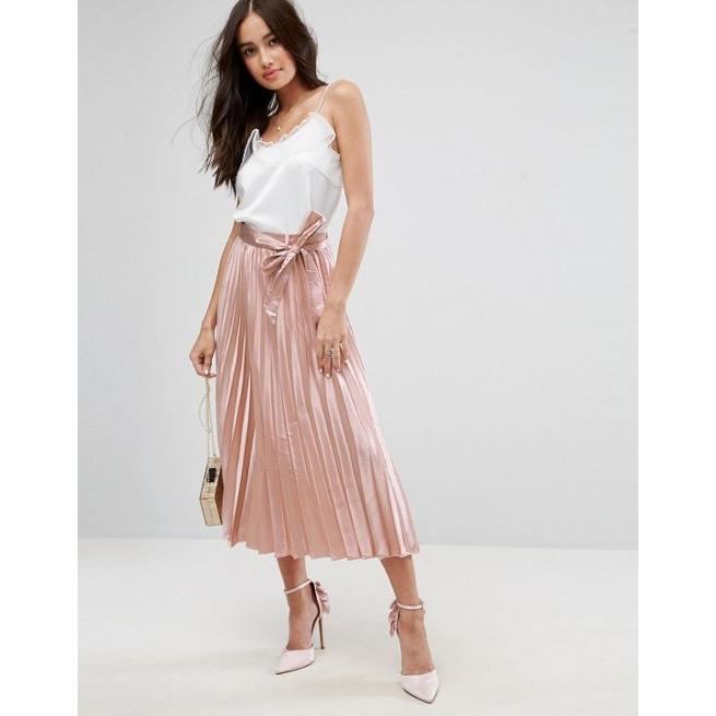 01763e6226 ASOS Satin Pleated Midi Skirt with Belt - Amaliah