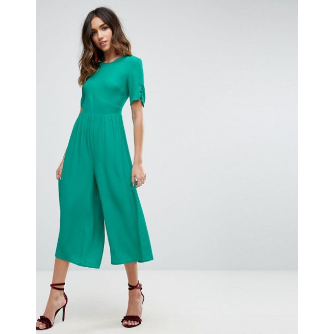 ab23b6dfe1d1 ASOS Tea Jumpsuit with Ruched Sleeve Detail - Amaliah
