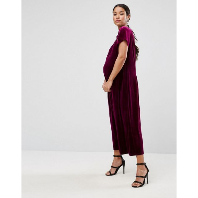 ea5aca6d53082 ASOS Maternity Relaxed Jumpsuit with Wide Leg in Velvet - Amaliah
