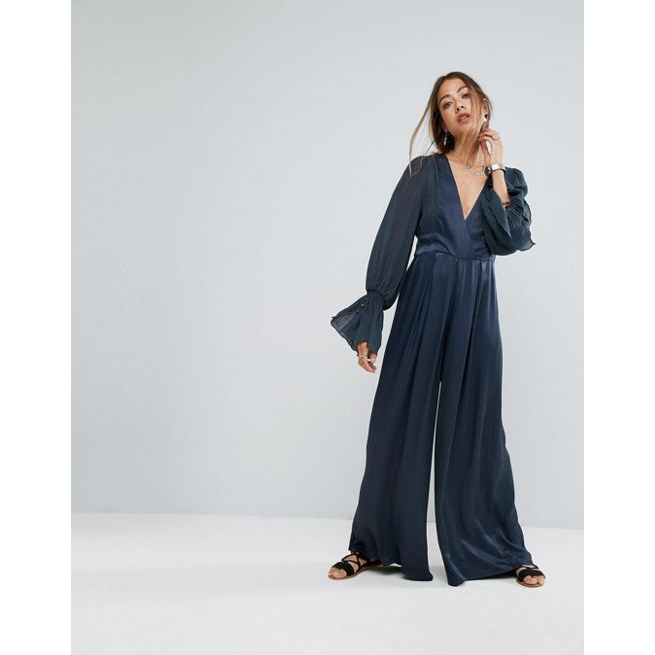 91317ee3d645 Free People V-Neck Wide Leg Jumpsuit With Flared Sleeve - Amaliah