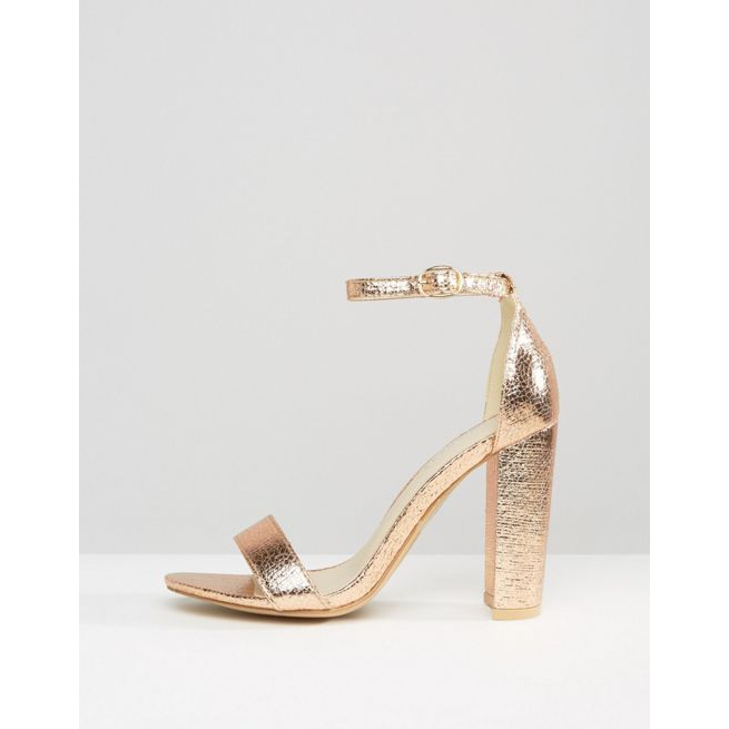 b6c81a02536a Glamorous Rose Gold Barely There Block Heeled Sandals - Amaliah