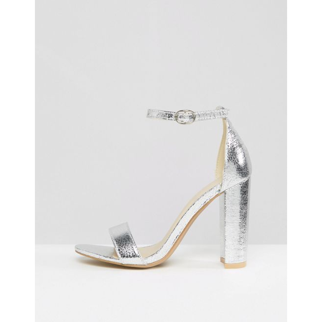 f75d442af831 Glamorous Silver Barely There Block Heeled Sandals - Amaliah