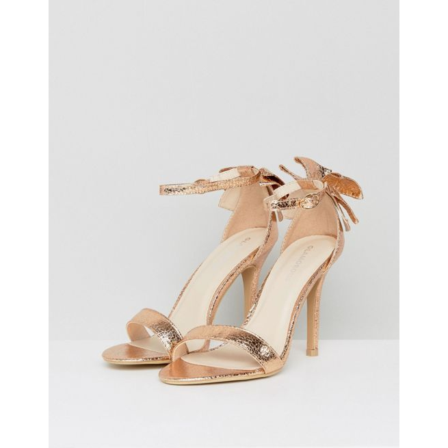 a89237fb354 Glamorous Bow Back Rose Gold Heeled Sandals - Amaliah