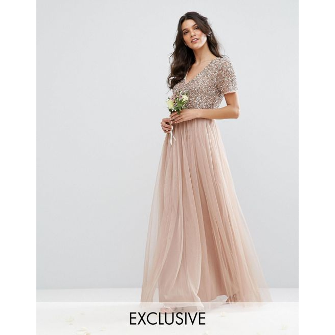 5e5b93dc Maya V Neck Maxi Tulle Dress with Tonal Delicate Sequins - Amaliah