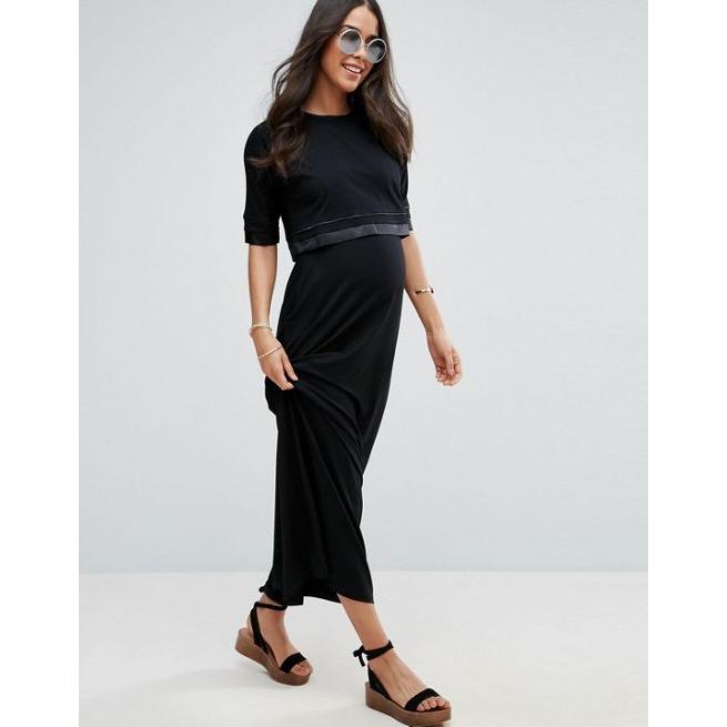 d530693dd94aa ASOS Maternity NURSING Double Layer Maxi Dress - Amaliah