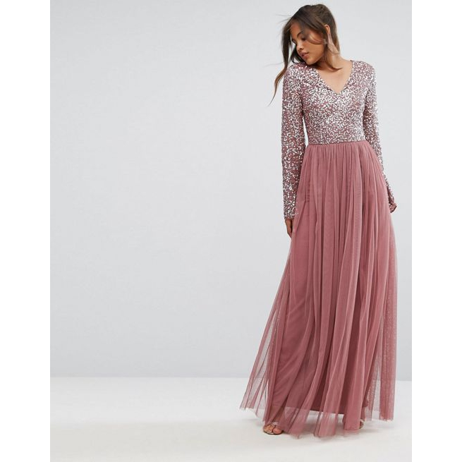 b282cf8850 Maya Tall Sequin Top Tulle Maxi Dress With Fluted Sleeve Detail - Amaliah