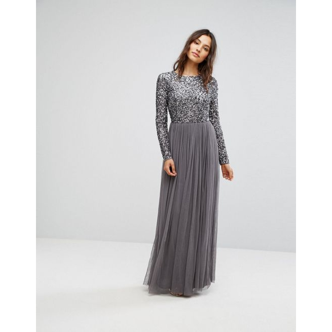 9341078847e Maya Long Sleeved Maxi Dress with Delicate Sequin and Tulle Skirt - Amaliah