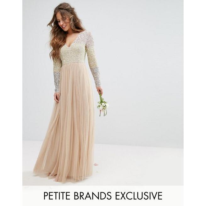 9472aae56bb09 Maya Petite Long Sleeve V Neck Tulle Maxi Dress With Multi Colour Sequin -  Amaliah