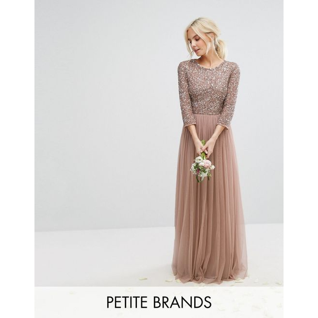 749fe52b28 Maya Petite 3/4 Sleeve Maxi Dress With Delicate Sequin And Tulle Skirt -  Amaliah