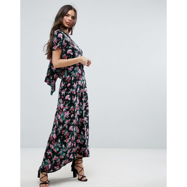 02f1162867 ASOS Maxi Dress with Open Back in Dark Floral Print - Amaliah