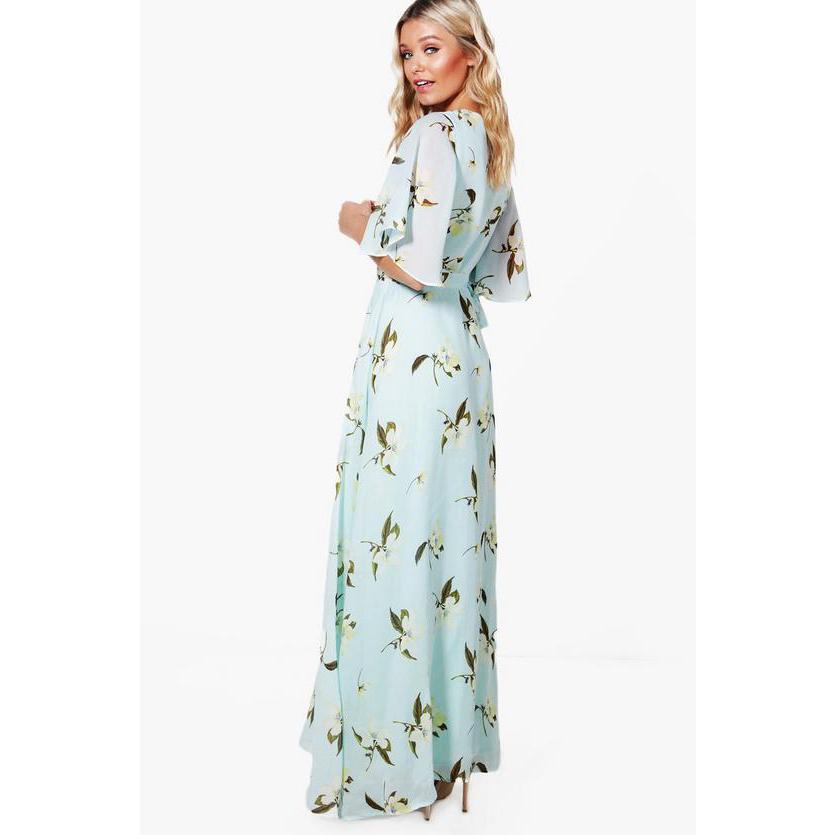 7e909ba64eb1 Harper Floral Angel Sleeve Wrap Maxi Dress | Boohoo - Amaliah