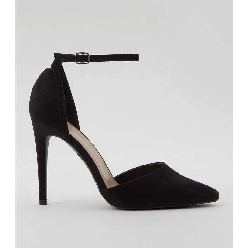 7685b74b1b5 Black Suedette Ankle Strap Pointed Court Heels | New Look - Amaliah