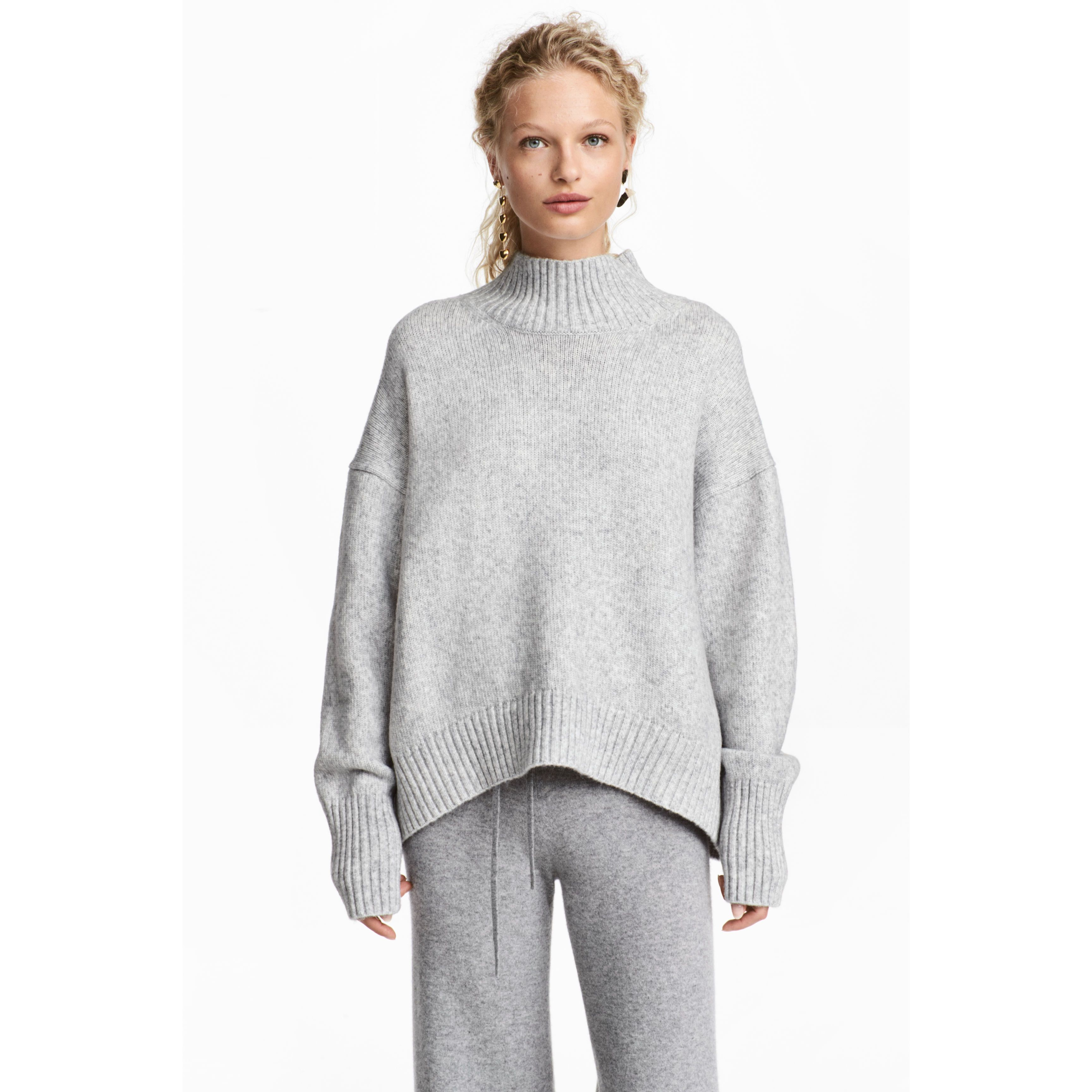 d5ab3f53676a9e Knitted polo-neck jumper - Light grey marl - Ladies | H&M GB - Amaliah
