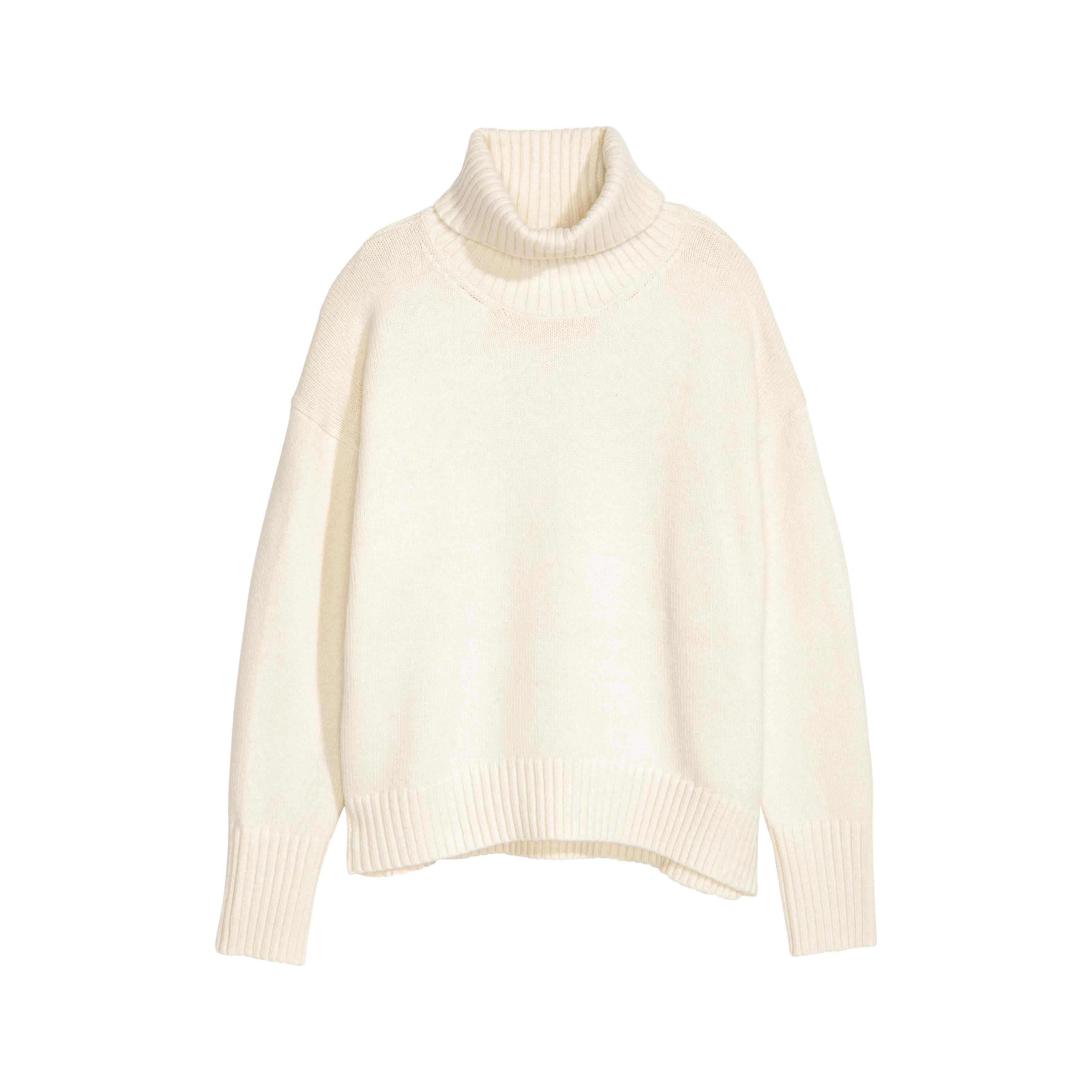 fe9a68816 Knitted polo-neck jumper - White - Ladies