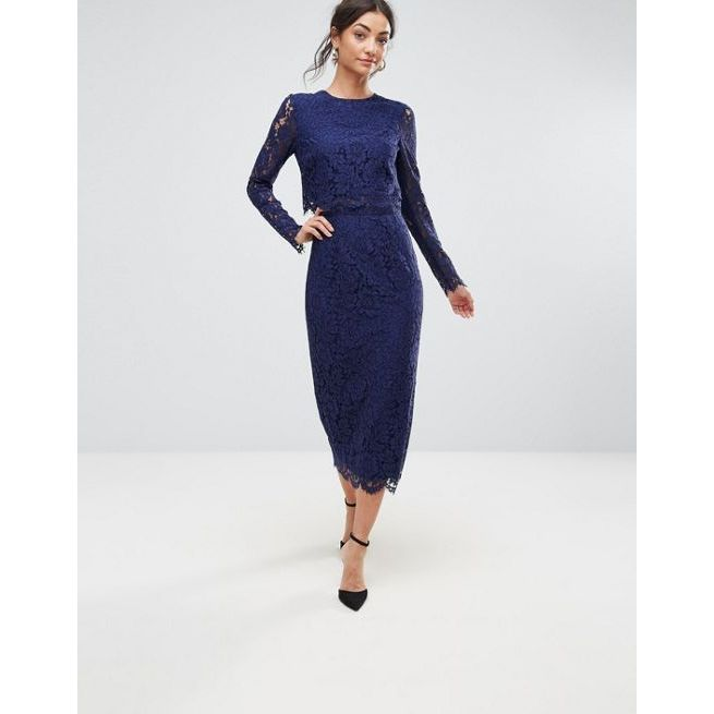 8a60d02ee2e ASOS TALL WEDDING Lace Long Sleeve Midi Pencil Dress - Amaliah