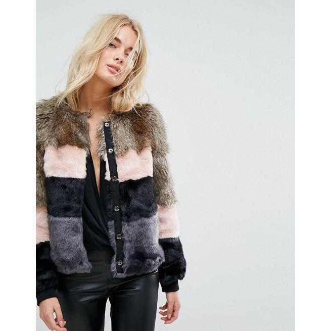 Amaliah Vero Fur Moda Colour Jacket Block Faux 9DH2IE