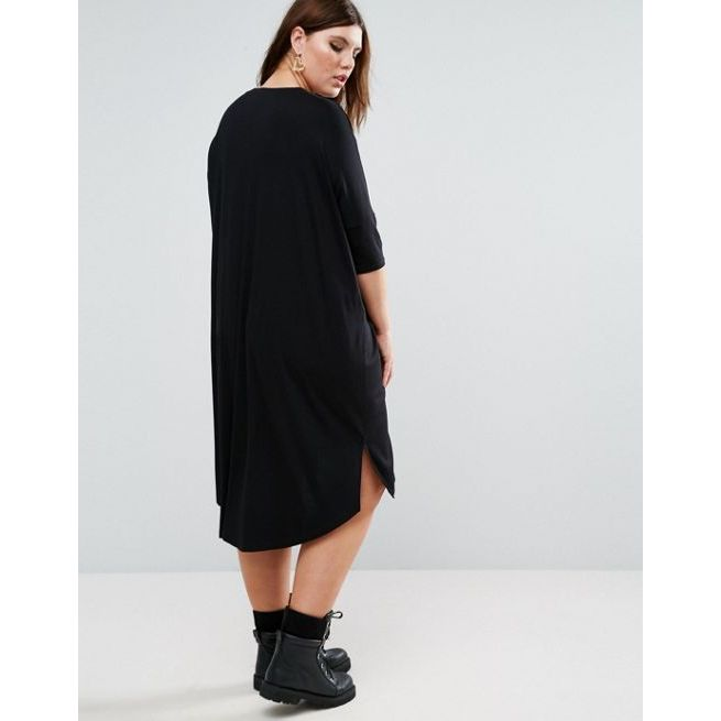 007f83312c8 ASOS CURVE Oversize T-Shirt Dress with Curved Hem - Amaliah