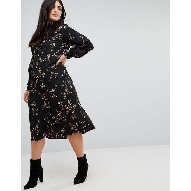 consumo completare Trenta  Fashion Union Plus High Neck Midi Dress In Grunge Floral Print ...