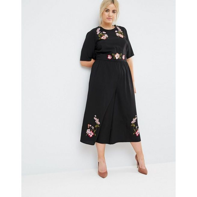 0f4a7c7251956 ASOS CURVE Tea Jumpsuit with Embroidery - Amaliah