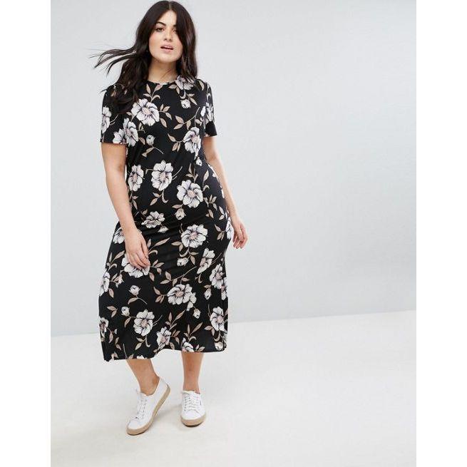 f58d75aa4b5 ASOS CURVE City Maxi Tea Dress In Large Floral Print - Amaliah