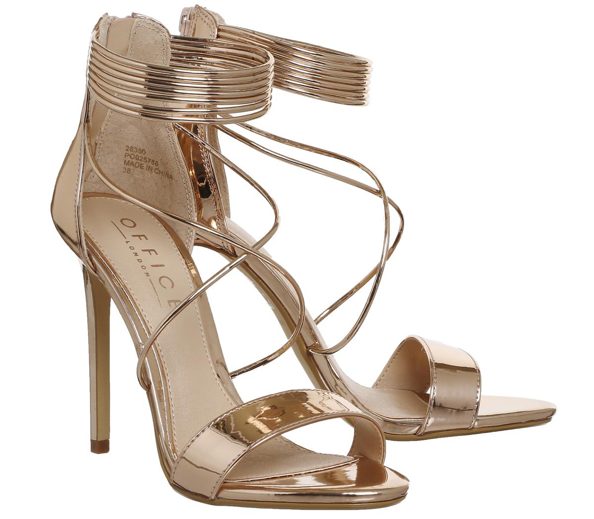 35ff9cea72 Office Hollywood Tubular Strap Sandals Rose Gold Mirror - Amaliah