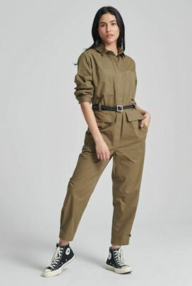 I've been buying chic, comfy, basics like a new coverall in army green I just got from him