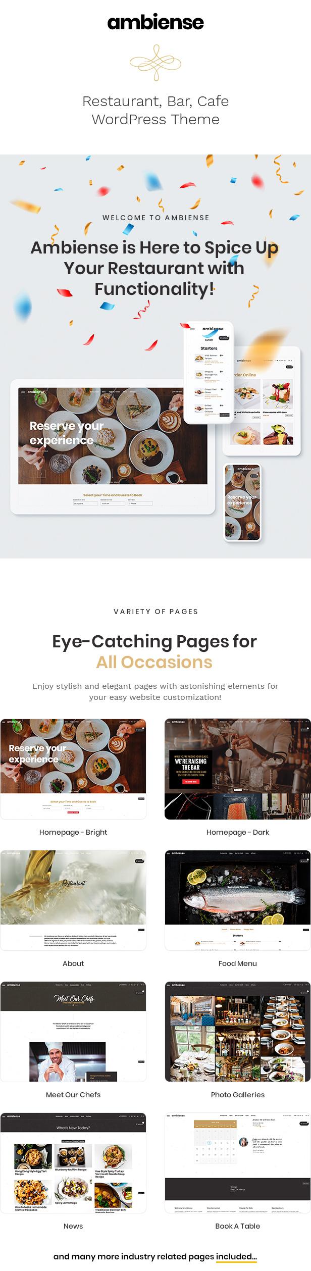 Ambiense - Restaurant & Cafe WordPress Theme - 1